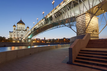 Moscow Patriarchal bridge and Cathedral at night