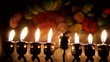 Beautiful lit hanukkah menorah on dark abstract background