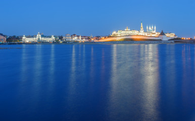 Kazan Kremlin by the river in the evening twilight