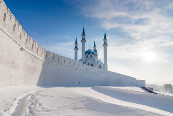 Old Kazan Kremlin and mosque on a frosty sunny day