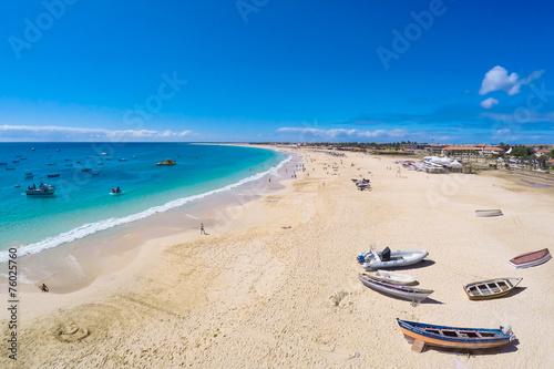 Papiers peints Pays d Afrique Aerial view of Santa Maria beach in Sal Cape Verde - Cabo Verde
