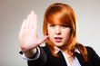 woman with stop hand sign gesture