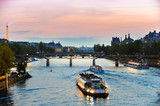 Tour Boats on Seine at Sunset
