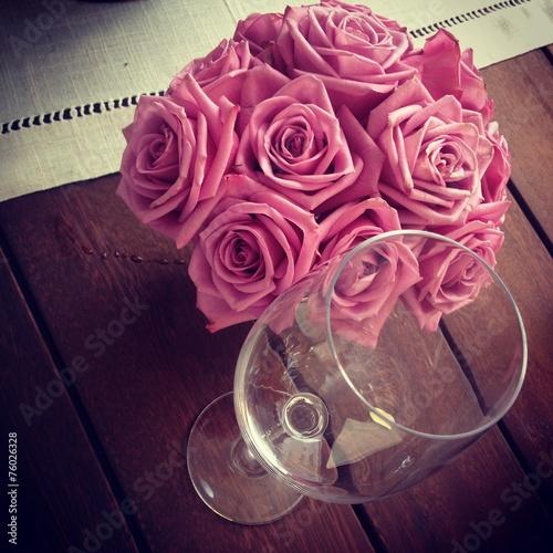 Leinwanddruck Bild Bouquet de rosas vintage