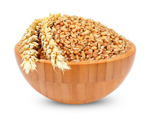 wheat in a wooden bowl