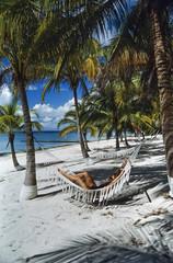 CUBA, Maria La Gorda, woman relaxing on the beach - FILM SCAN