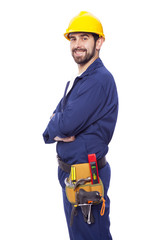 Portrait of a handsome smiling contractor, isolated on white bac