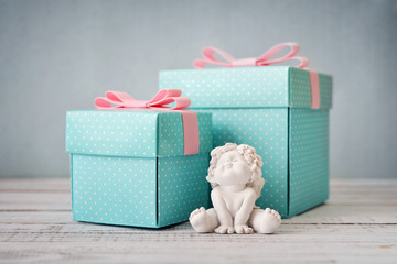 Blue polka dots gift boxes
