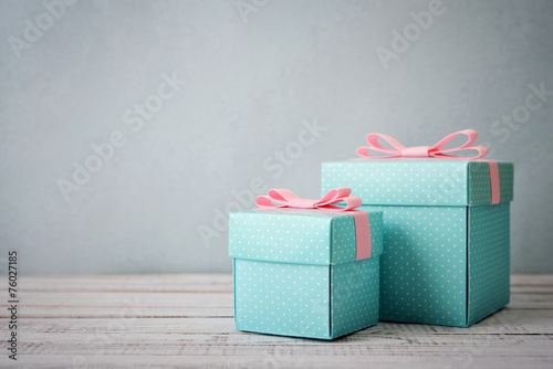 canvas print picture Blue polka dots gift boxes