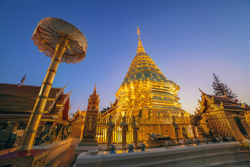 night scene at Doi Suthep temple, Chiangmai, Thailand