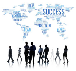 Global Business People Commuter Walking Success Growth Concept