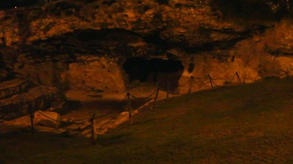 Cave-tombs of relatives of King Herod in Jerusalem at night.