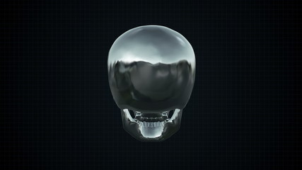 Metal Cyber Human skull Silver Loopable. Alpha matte