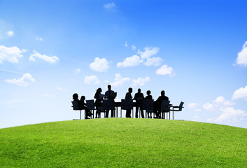Green Business People Discussion Outdoors Meeting Concept