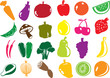 fruit and vegetables vector icon collection