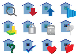 Real estate Property icons set in colors