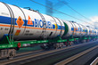 Leinwandbild Motiv Freight train with biofuel tankcars