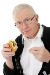 Senior Eating Fast Food