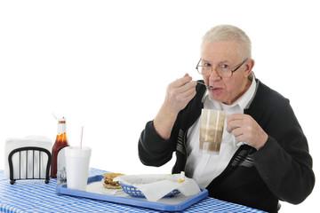 Enjoying His Fast Food
