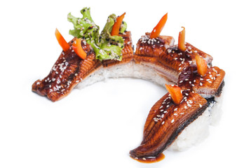 Delicious sushi maki whole eel fillet on white