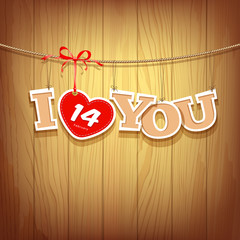 Valentines with text i love you and red ribbons