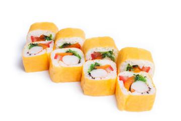 Set of sushi rolls maki isolated on white
