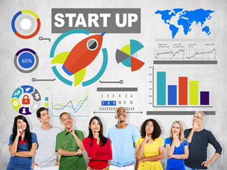 Diversity Casual People Start Up Imagination Ideas Concept