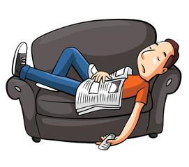 Lazy Man Sleep On Sofa