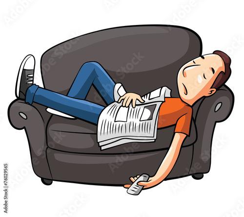 Lazy Man Sleep On Sofa - 76029565
