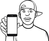 line drawing of a black guy in cap showing a mobile app on a sma poster