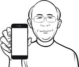 line drawing of a bald chinese man showing a mobile app on a sma poster