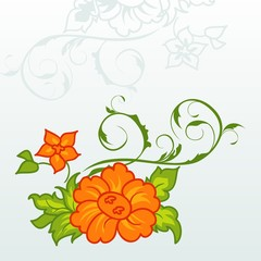 cute orange flowers with ornament