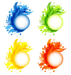 Four seasonal flourish colorful frames isolated