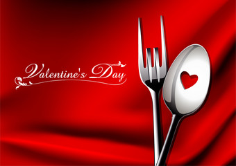 Vector of spoon and fork in love on red background