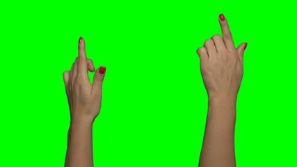 Erklärvideo Greenscreen, Frau Hand links mit roten Fingernägeln