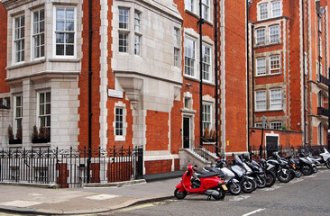 London street with parking for motorcycles
