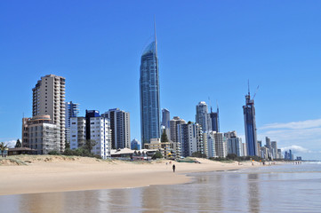 Gold Coast City in Queensland, Australia. Beach cityscape.