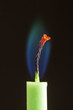 candle with blue-green flame