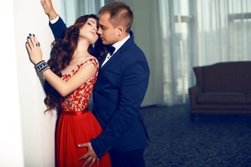 fashion interior photo of beautiful tender couple