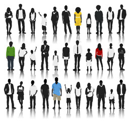 Silhouettes of Casual People in a Row with some Colour