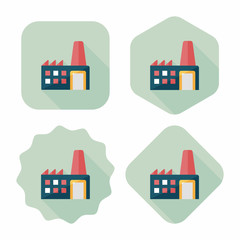 Building factory flat icon with long shadow,eps10