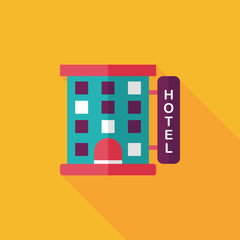 Building hotel flat icon with long shadow,eps10