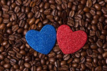 Синее и красное сердце