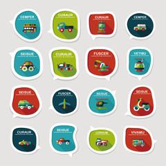Transportation speech bubble flat design background set, eps10
