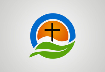 Cross religious ecology logo vector
