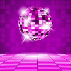 Purple Party background with disco ball