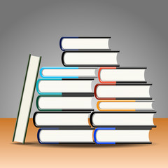 Books on the table. Vector illustration