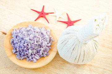 Salt Spa and Thai herbal compress for spa.