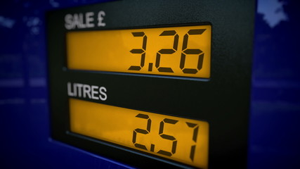 UK petrol pump display starts fueling at zero pounds