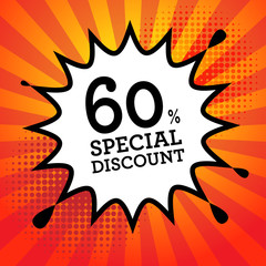 Explosion with text 60 percent, Special Discount, vector